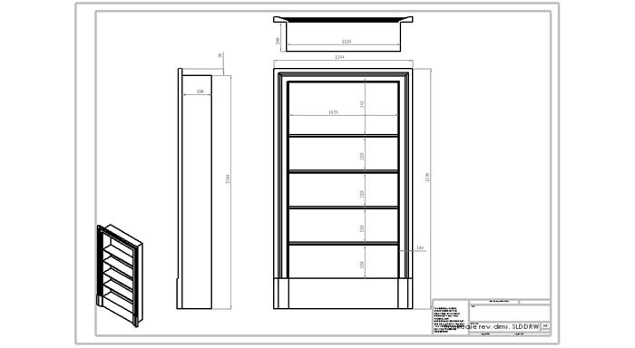 architectural drawings for hand made oak bookcases