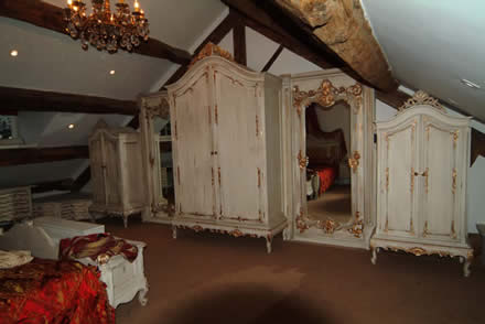 french feel bedroom furniture by wall panelling  for mobberley hall cheshire