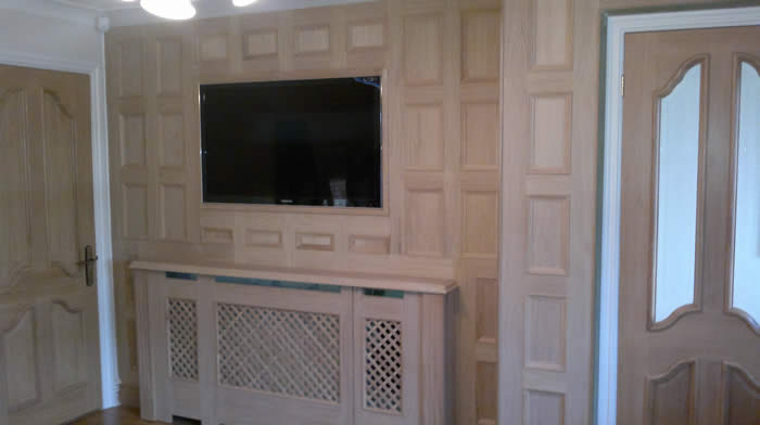 oak panelling feature wall