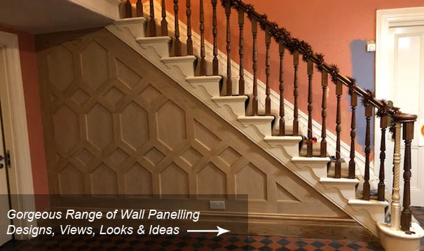 intricate oak panelling understairs made in Britain by wall panelling experts for home in  Melton Mowbray oak panelling