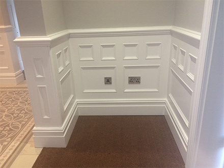 made to order wall panelling with matching finishing top rail and skirtings Perfectly elegant made in Britain for a home in cheshire (1)
