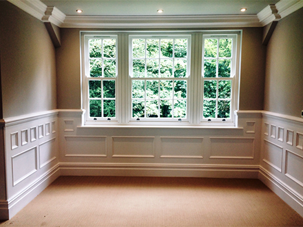 underneath window wall panelling detail made in Britain for home in cheshire