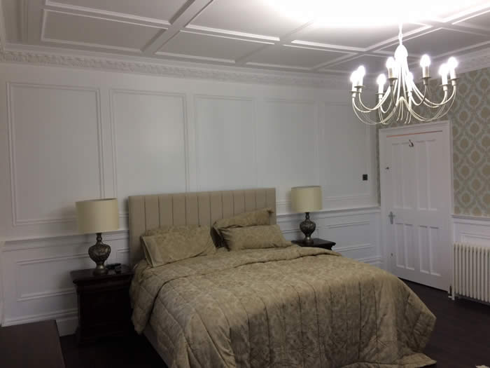 bedroom feature wall panelling