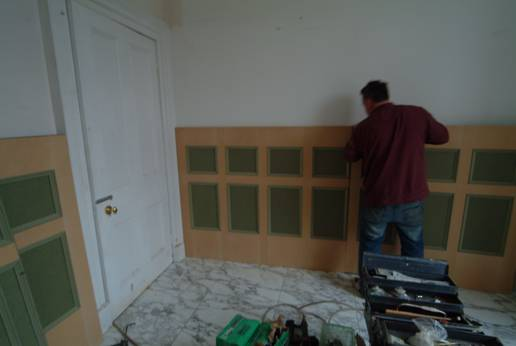 bathroom wall panelling being installed from wall panelling experts glasgow