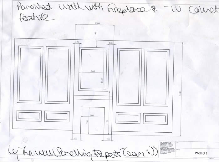 wall paenlling drawings for a feature wall