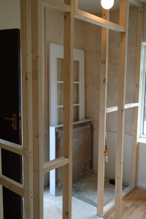 stud work ready for tongue and groove wall panelling