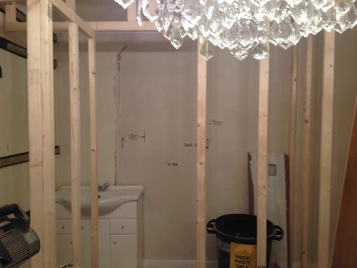 Stud work before Panelling ensuite..