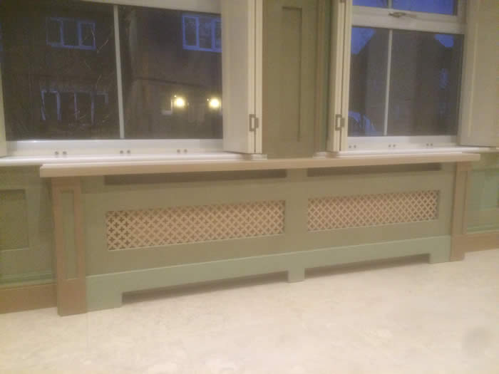 made to order shaker panelling and matching radiator cabinet  by the wall panelling  experts