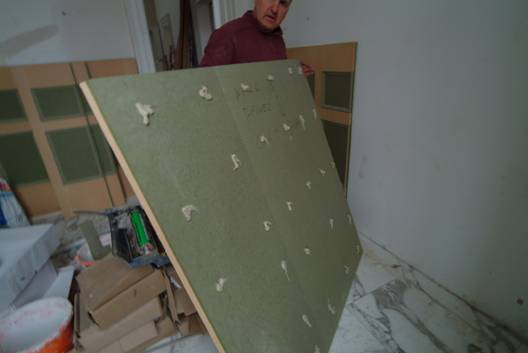 bathroom wall panels being installed by wall panelling fitting wall panelling with the wall panelling experts
