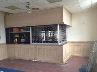 oak bar with tongue adn groove panels