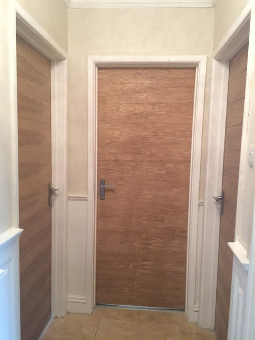 oak veneered tongue and groove  recovered panelled doors
