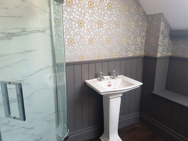 beaded bathroom panelling
