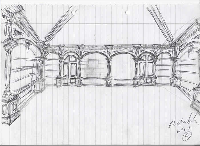 artistic drawings by senior design consultant for wall panelling