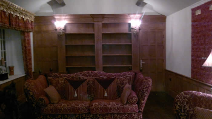 wood wall panelling living room mobberley hall cheshire