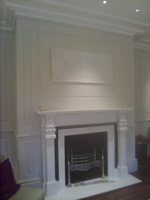 living room feature wall with wall panelling