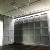 shaker wall panelling with ceiling wall panelling and special lighting effect